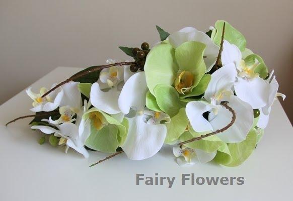 Silk Wedding Flowers 74 Elegant white u green orchids