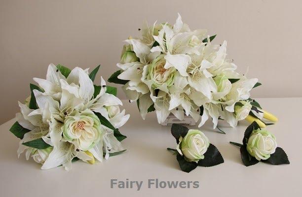Silk Wedding Flowers 24 Fresh Lilies u Roses Teardrop
