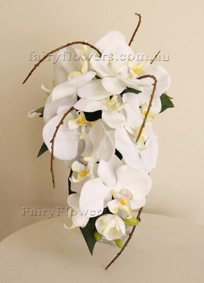 Silk Wedding Flowers 89 Luxury white orchids teardrop