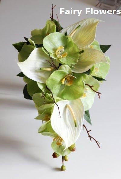 Silk Wedding Flowers 88 Perfect Anthiriums u orchids Teardrop