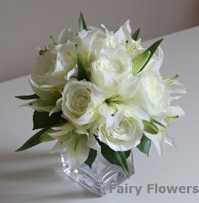 Silk Wedding Flowers 50 Cute white rose lily posy