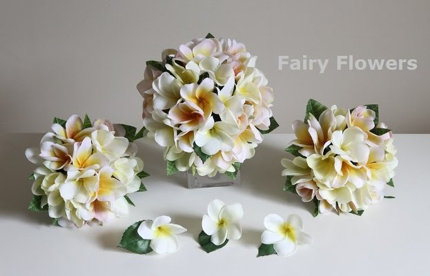 Silk Wedding Flowers 38 Fresh Frangipani Wedding Set of