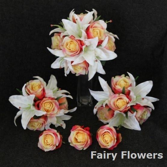 Silk Wedding Flowers 57 Amazing white lily u peach