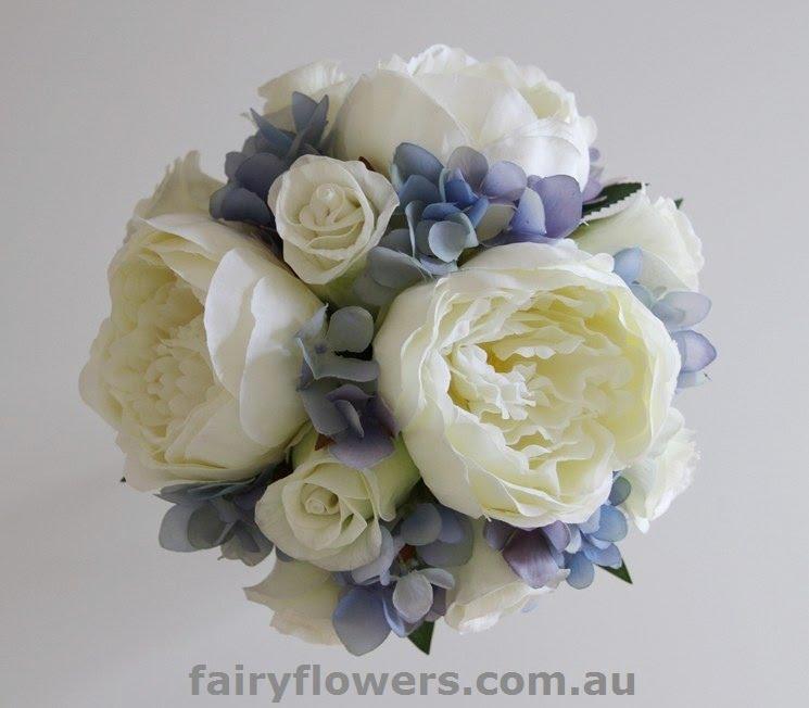 Silk Wedding Flowers 29 Fancy White penoy u roses