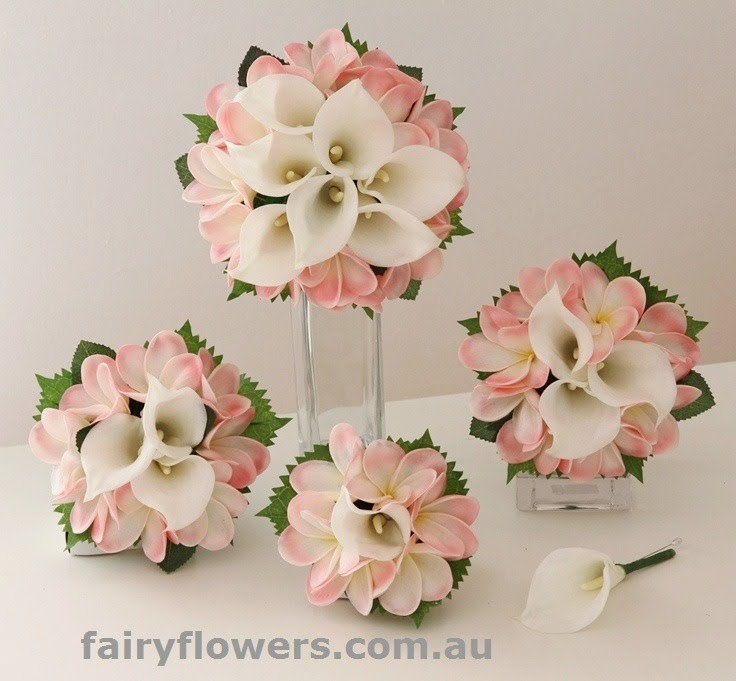 Silk Wedding Flowers 33 Lovely pink frangipanis u white