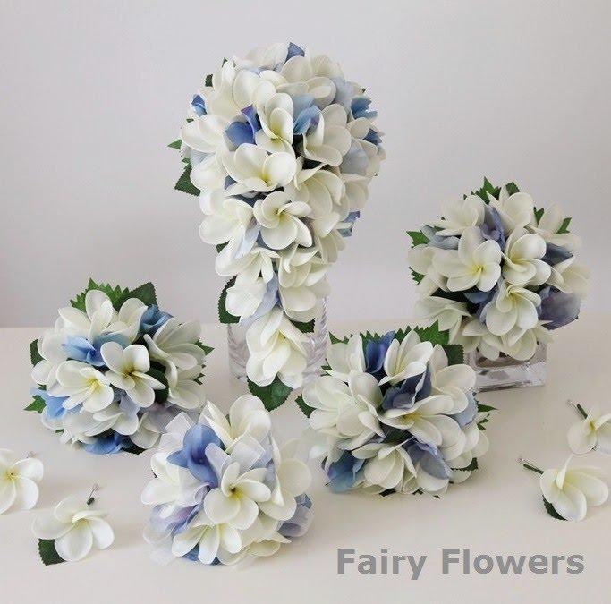 Silk Wedding Flowers 37 Nice frangipanis and blue hydrangeas