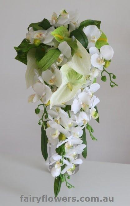 Silk Wedding Flowers 21 Superb white u bergundy bouquet