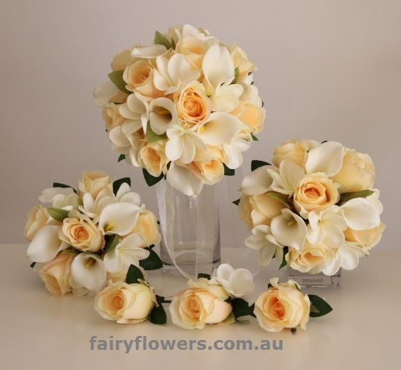 Silk Wedding Flowers 22 Beautiful Champagne roses u white