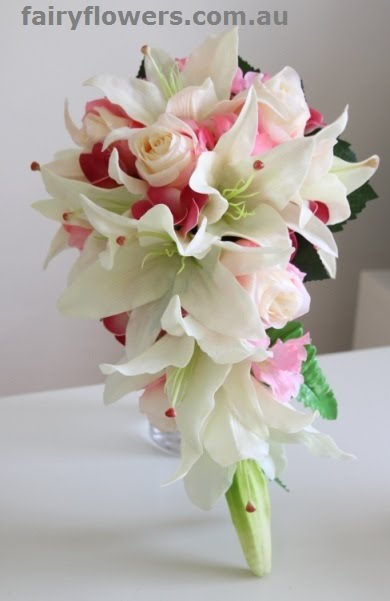 Silk Wedding Flowers 3 Trend white lily pink rose