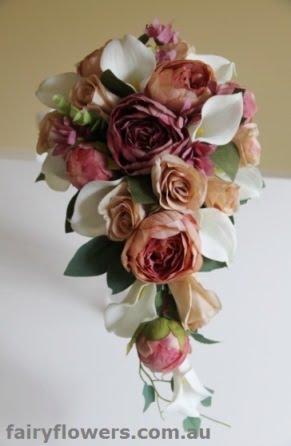 Silk Wedding Flowers 77 Awesome earth tone cascade bouquet