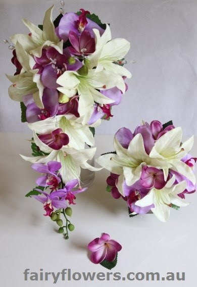 Silk Wedding Flowers 45 Awesome rose calla and frangipani