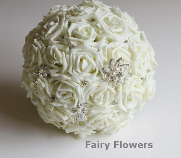 Silk Wedding Flowers 79 Simple Foam rose bridal bouquet