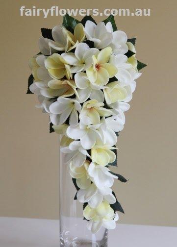 Silk Wedding Flowers 58 Spectacular white yellow frangipani teardrop