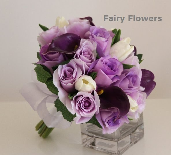 Rose Calla Lily Tulip Wedding Flowers Silk Bridal Bouquet in Mixed Flowers