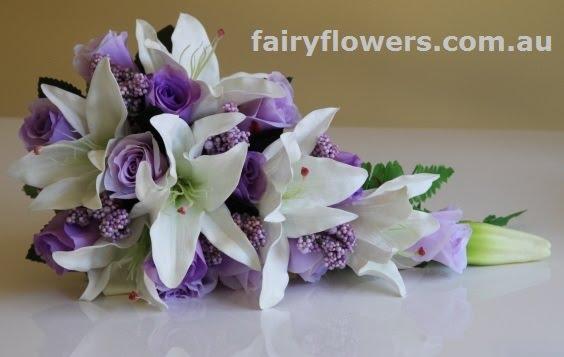 Silk Wedding Flowers 31 Stunning white lily purple rose